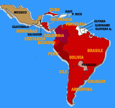 Cartina America Meridionale Politica.America Latina Mappa Politica